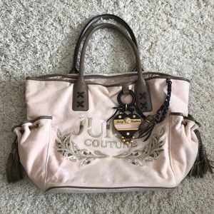 Large Juicy Couture Velvet Tote With Leather Trim